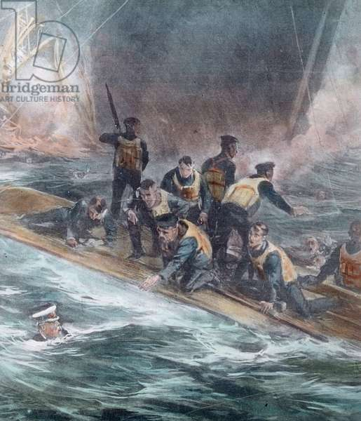 The maiden voyage of the Titanic 1912, Titanic disaster - shipwrecked people - Carl Simon, hand coloured glass slide - illustration