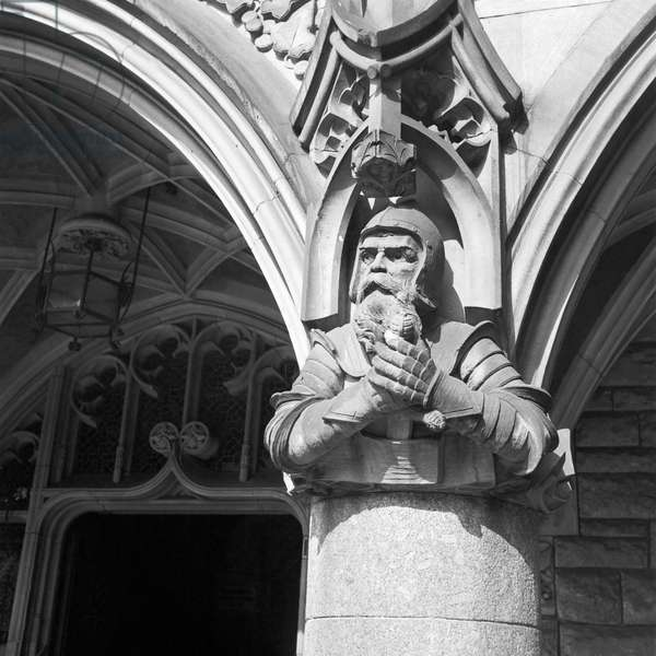 Detail at the Kaiserdom cathedral at Aachen, Germany 1930s (b/w photo)