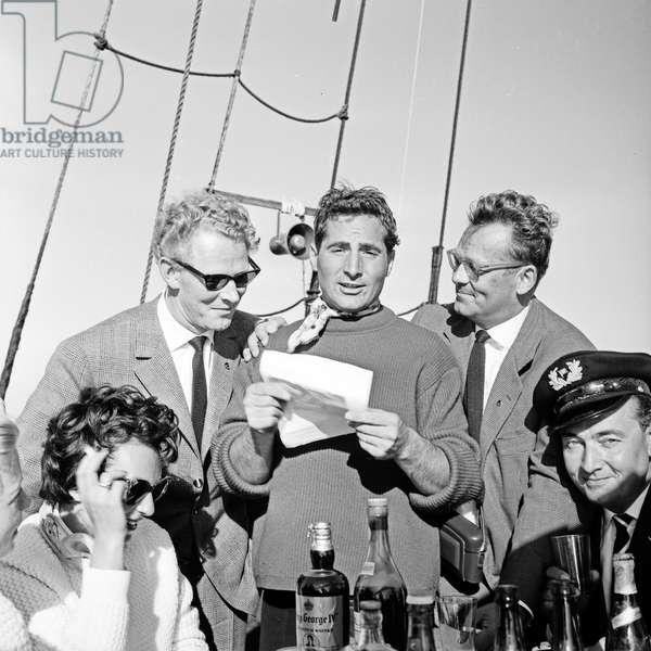 """German singer Freddy Quinn on the Polydor ship """"Heimweh"""", Deutschland 1950s"""