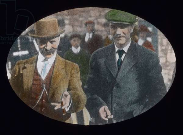 The maiden voyage of the Titanic 1912 - Joseph Bruce Ismay, Director of White Star Line with cigar after his official court hearing to Titanic disaster, history, historical, Carl Simon, hand coloured glass slide