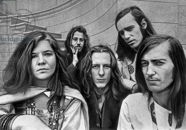 American singer Janis Joplin witth the band Big Brother and the Holding Company, USA end 1960s