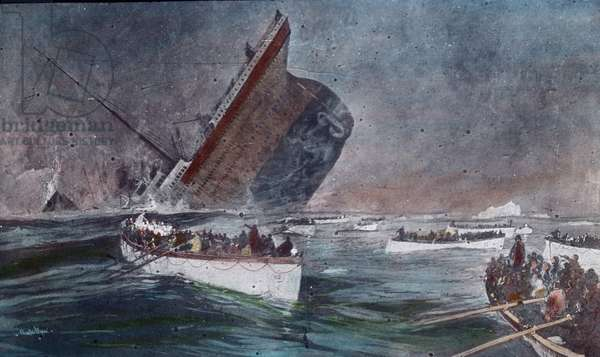 The maiden voyage of the Titanic 1912 - Titanic disaster, The sinking of the Titanic - lifeboats with passengers, Carl Simon, hand coloured glass slide - illustration, history, historical