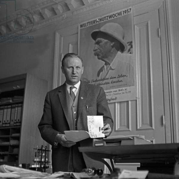 At the office of the Hamburg society for the prevention of cruelty to animals, Germany 1950s