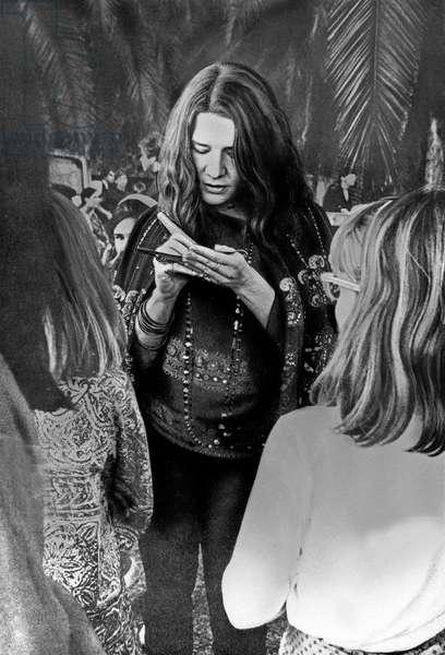 American singer Janis Joplin signing autographs, USA end 1960s
