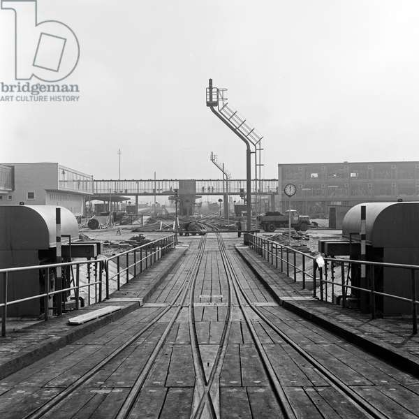 Hump for trains from the ferry boat at Puttgarden harbor, Germany 1960s