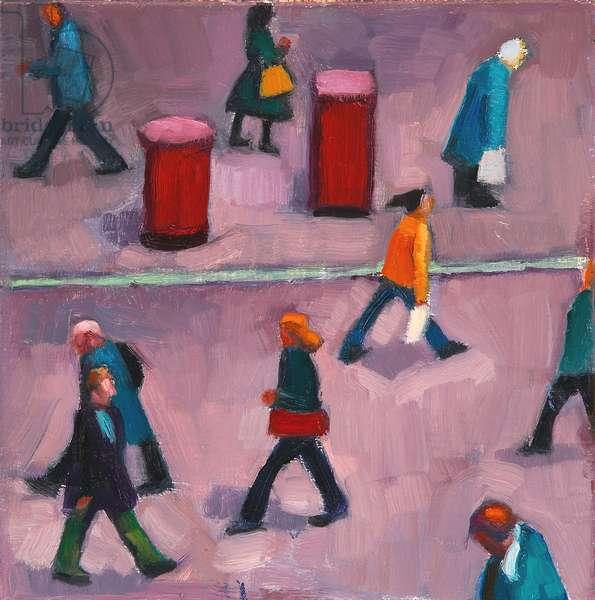 People Walking I (oil on board)