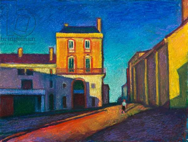Village in the Vendee (oil pastel on paper)