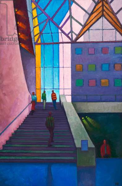 Stairway to level 2, National Gallery, Washington (oil on board)