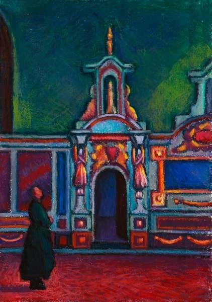 Dans l'Eglise (oil pastel on paper)