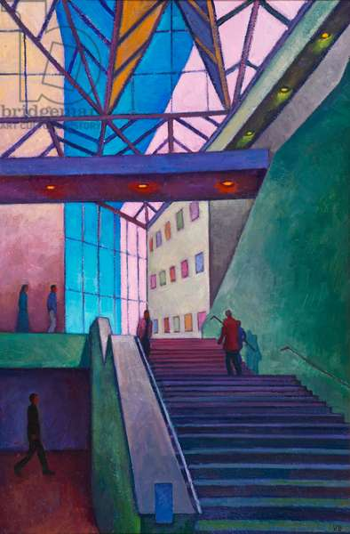 Stairway to level 3, National Gallery, Washington (oil on board)
