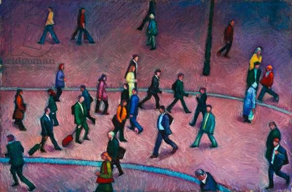 Pedestrians (oil pastel on paper)