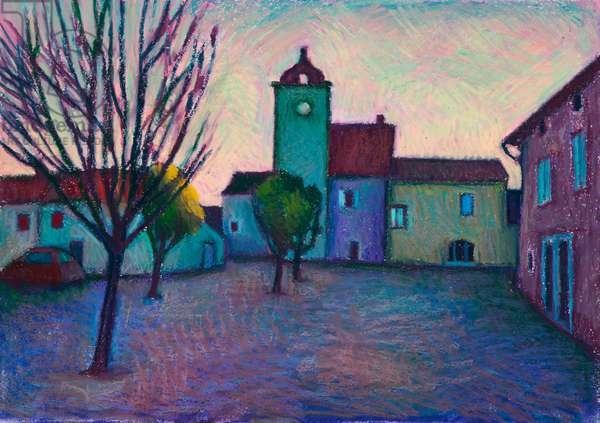 French village, winter evening (oil pastel on paper)