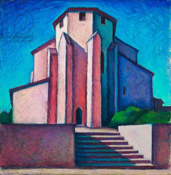 L'Eglise, Lalbenque II (oil pastel on paper)