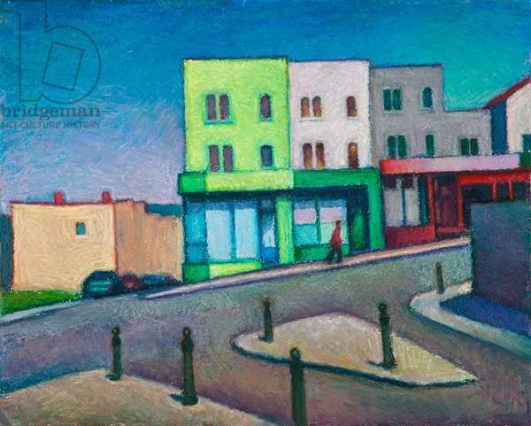 Bristol, the green house on the hill I (oil pastel on paper)