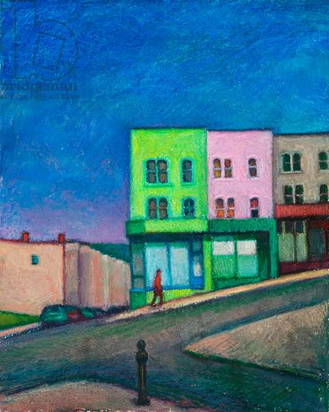 Bristol, the green house on the hill II (oil pastel on paper)
