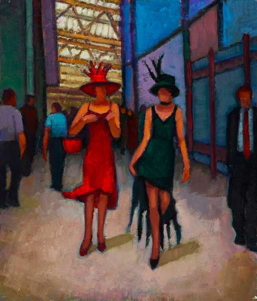 Dressed for Ascot (oil on board)