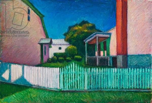 Back Gardens, Middlebrook (oil pastel on paper)