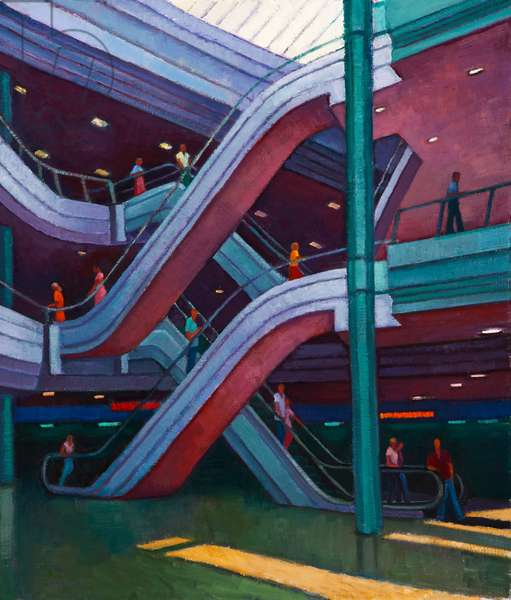 Escalators in a Shopping Mall (oil on canvas on board)