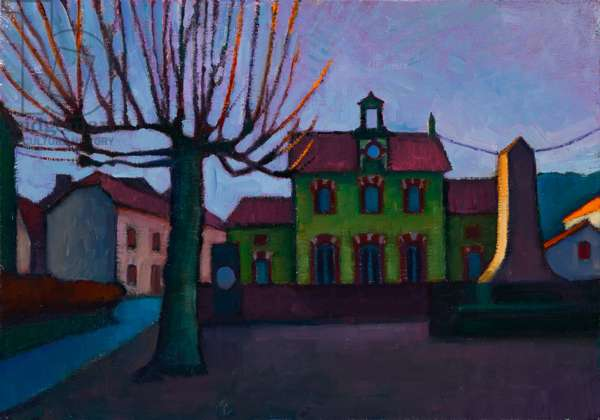 French village, December evening (oil on board)
