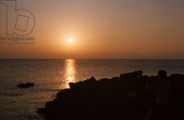 A view of the Tyrrhenian Sea, Isola delle Femmine, Palermo, Sicily, Italy (photo)