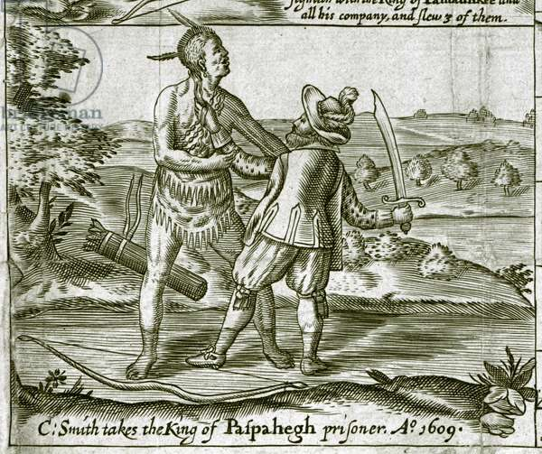 Captain Smith takes the King of Paspahegh prisoner, 1609 (engraving)