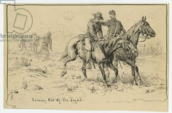 Coming out the Fight, illustration from 'Thirty Years After: An Artist's Story of the Great War', published in 1890, 1880s (pen & ink on paper)