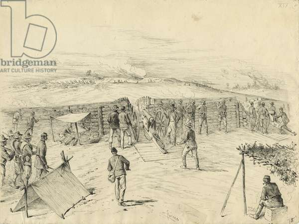 Siege-work, illustration from 'Thirty Years After: An Artist's Story of the Great War', published in 1890, 1880s (pen & ink on paper)