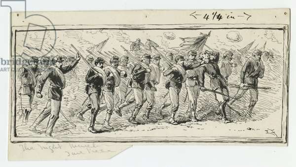 Infantry in the Attack, illustration from 'Thirty Years After: An Artist's Story of the Great War', published in 1890, 1880s (pen & ink on paper)
