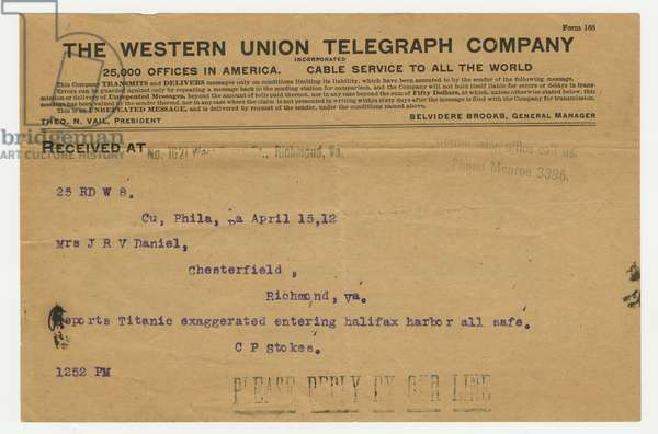 Telegram concerning Robert Williams Daniel and his rescue from the sinking of the 'Titanic', 15th April 1912 (print)