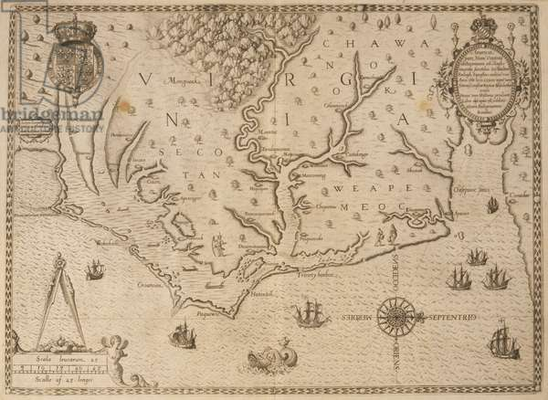 Map of Virginia, from 'America, Part I', 1590 (engraving)