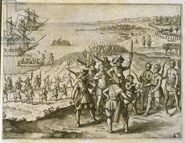 Pocahontas is visited by her brothers, plate VII, from 'America, Part X,' Latin Edition, 1619 (engraving)