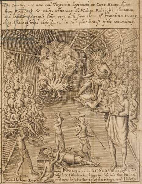 King Powhatan commands Captain Smith to be slain, 1624 (engraving)