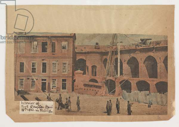 Interior of Fort Sumter in ruins, April 15th 1861, from the Robert Knox Sneden Diary, 1861-65 (colour litho)