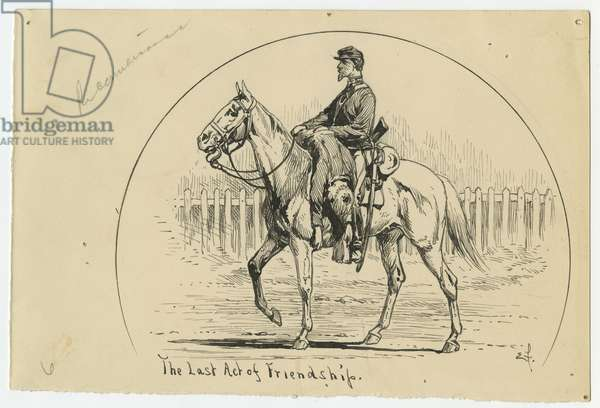The Last Act of Friendship, illustration from 'Thirty Years After: An Artist's Story of the Great War', published in 1890, 1880s (pen & ink on paper)
