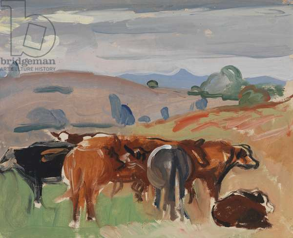 Landscape with Cattle, c.1935 (oil on canvas)