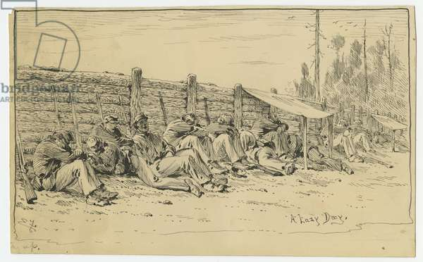 A Lazy Day, illustration from 'Thirty Years After: An Artist's Story of the Great War', published in 1890, 1880s (pen & ink on paper)
