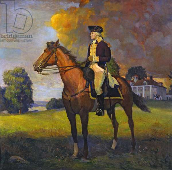 General George Washington at Mount Vernon, on his way South to Yorktown, 1781, c.1925 (oil on canvas)
