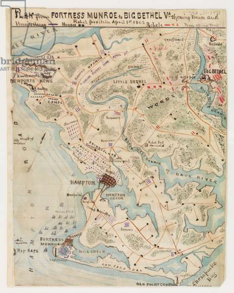 Plan from Fortress Monroe to Big Bethel, Virginia, showing Union and Rebel positions, 1st April 1862, from the Robert Knox Sneden Diary, 1861-65 (pen & ink and w/c on paper)