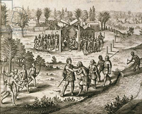 Ralph Hamor visits Powhatan with a proposal, from 'America, Part X', Latin edition, 1619 (engraving)
