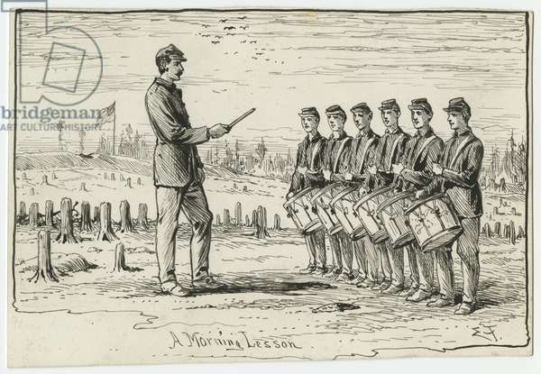A Morning Lesson, illustration from 'Thirty Years After: An Artist's Story of the Great War', published in 1890, 1880s (pen & ink on paper)