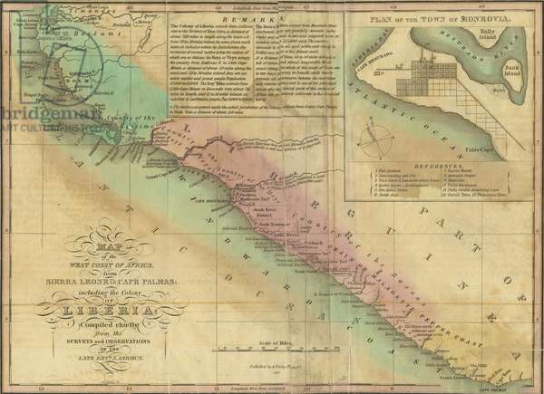 Map of the West Coast of Africa, from Sierra Leone to Cape Palmas: including the Colony of Liberia, c.1830 (colour litho)