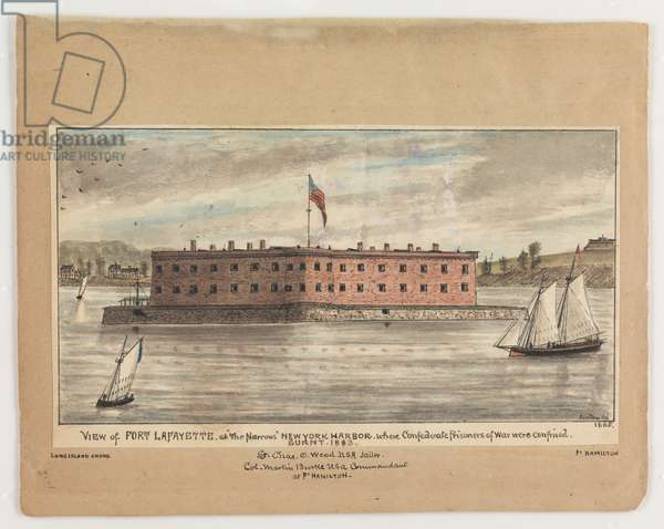 View of Fort Lafayette at 'The Narrows', New York Harbour, 1865, from the Robert Knox Sneden Diary, 1861-65 (litho)