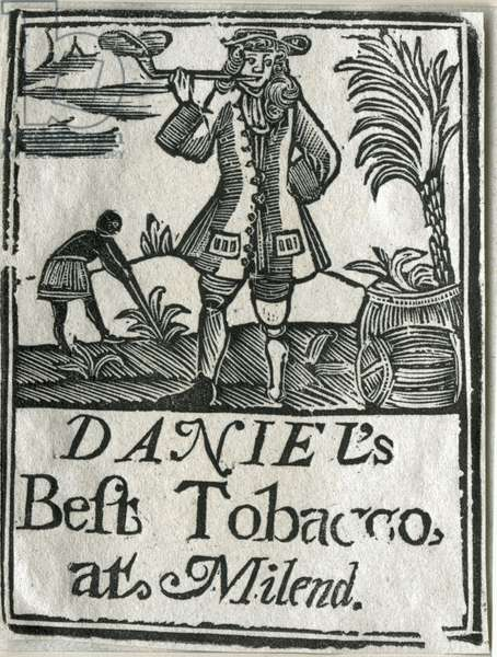 Tobacco label featuring planter with a peg leg smoking a clay pipe (woodcut)