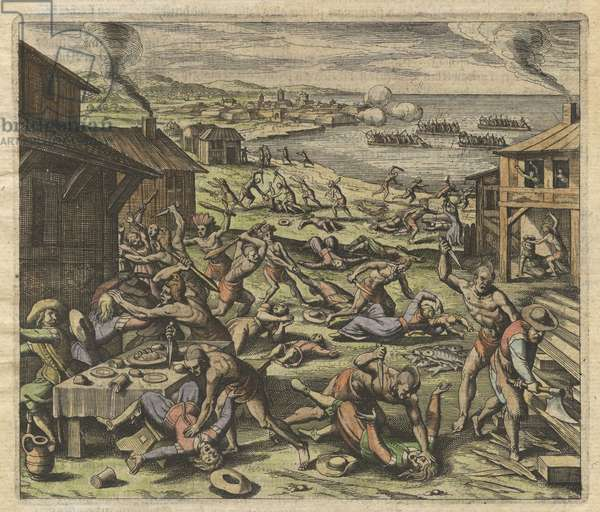 The massacre of the settlers in 1622, plate VII, from 'America, Part XIII', German edition, 1628 (coloured engraving)