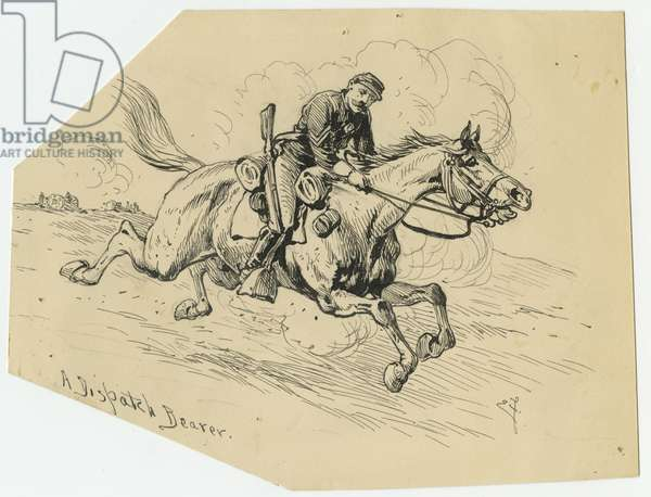 A Dispatch Bearer, illustration from 'Thirty Years After: An Artist's Story of the Great War', published in 1890, 1880s (pen & ink on paper)