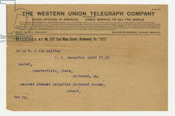 Telegram concerning Robert Williams Daniel and his rescue from the sinking of the 'Titanic', 17th April 1912 (print)