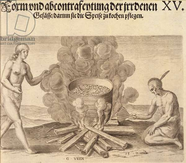 Their seething of their meats, Plate XV, from 'America, Part I', engraved by Theodre de Bry (1528-98), 1590 (engraving)