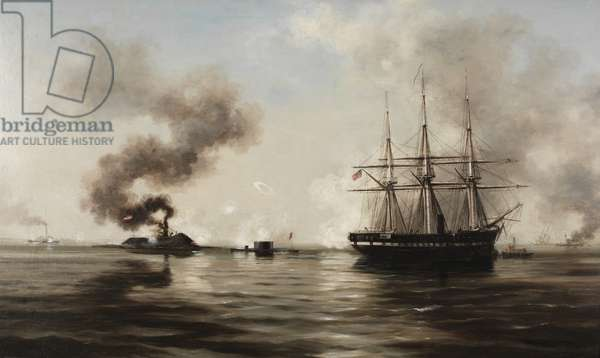 The Battle Between the Monitor and the Merrimac, 1880 (oil on fabric)