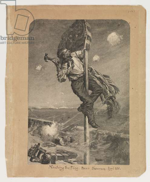 Nailing the Flag, Fort Sumter, April 1861, from the Robert Knox Sneden Diary, 1861-65 (litho)