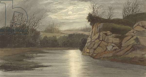 James River at Night (w/c on paper)